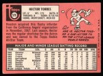 1969 Topps #526  Hector Torres  Back Thumbnail