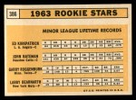 1963 Topps #386 LOW  -  Ed Kirkpatrick / John Bateman / Garry Roggenburk / Larry Bearnarth Rookies Back Thumbnail