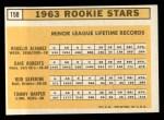 1963 Topps #158   -  Rogelio Alvarez / Dave Roberts / Tommy Harper / Bob Saverine Rookies   Back Thumbnail
