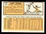 1963 Topps #513  Gary Geiger  Back Thumbnail