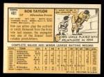 1963 Topps #481  Bob Taylor  Back Thumbnail