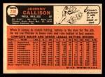 1966 Topps #230  Johnny Callison  Back Thumbnail