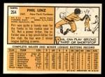 1963 Topps #264  Phil Linz  Back Thumbnail