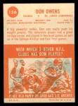 1963 Topps #156  Don Owens  Back Thumbnail