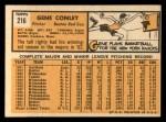 1963 Topps #216  Gene Conley  Back Thumbnail