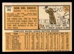 1963 Topps #282  Bobby Del Greco  Back Thumbnail