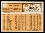 1963 Topps #237  Jim Coates  Back Thumbnail