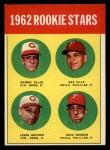 1963 Topps #29 TWO  -  Sammy Ellis / Ray Culp / John Boozer / Jesse Gonder 1962 Rookie Stars Front Thumbnail