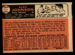 1966 Topps #104 TR Alex Johnson  Back Thumbnail
