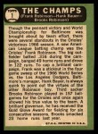 1967 Topps #1   -  Frank Robinson / Brooks Robinson / Hank Bauer The Champs Back Thumbnail