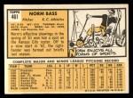 1963 Topps #461  Norm Bass  Back Thumbnail