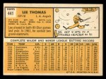 1963 Topps #441  Lee Thomas  Back Thumbnail