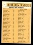 1963 Topps #4   -  Harmon Killebrew / Roger Maris / Norm Cash / Rocky Colavito / Jim Gentile / Leon Wagner AL HR Leaders Back Thumbnail
