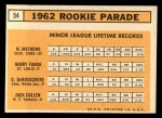 1963 Topps #54 TWO  -  Dave DeBusschere / Nelson Matthews / Harry Fanok / Jack Cullen 1962 Rookies Back Thumbnail