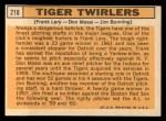 1963 Topps #218   -  Frank Lary / Don Mossi / Jim Bunning Tiger Twirlers Back Thumbnail