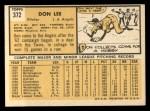 1963 Topps #372 xFUL Don Lee  Back Thumbnail