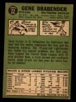 1967 Topps #22  Gene Brabender  Back Thumbnail