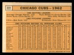 1963 Topps #222   -    Cubs Team Back Thumbnail