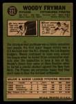 1967 Topps #221  Woody Fryman  Back Thumbnail