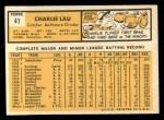 1963 Topps #41  Charlie Lau  Back Thumbnail