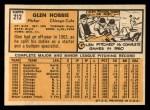1963 Topps #212  Glen Hobbie  Back Thumbnail