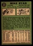 1967 Topps #223 DOT Mike Ryan  Back Thumbnail