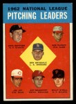 1963 Topps #7   -  Don Drysdale / Joe Jay / Art Mahaffey / Billy O'Dell / Bob Purkey / Jack Sanford NL Pitching Leaders Front Thumbnail