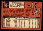 1969 Topps #228  Dave Leonhard  Back Thumbnail