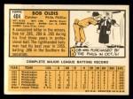 1963 Topps #404 LFT Bob Oldis  Back Thumbnail