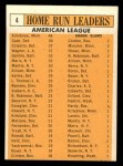 1963 Topps #4   -  Harmon Killebrew / Roger Maris / Norm Cash / Rocky Colavito / Jim Gentile / Leon Wagner AL HR Leaders Back Thumbnail