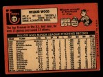 1969 Topps #123  Wilbur Wood  Back Thumbnail