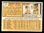1963 Topps #141  Manny Mota  Back Thumbnail