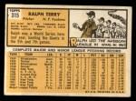 1963 Topps #315  Ralph Terry  Back Thumbnail