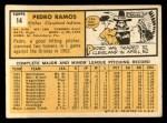 1963 Topps #14  Pedro Ramos  Back Thumbnail