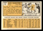 1963 Topps #132  Jack Hamilton  Back Thumbnail