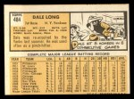 1963 Topps #484  Dale Long  Back Thumbnail