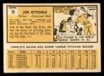 1963 Topps #70  Jim O'Toole  Back Thumbnail