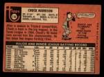 1969 Topps #116  Chuck Harrison  Back Thumbnail