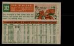 1959 Topps #312  Don Newcombe  Back Thumbnail