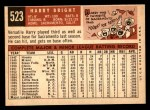 1959 Topps #523  Harry Bright  Back Thumbnail