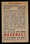 1951 Bowman #43  Billy DeMars  Back Thumbnail