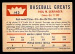 1960 Fleer #43  Paul Derringer  Back Thumbnail