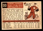 1959 Topps #513  Tom Carroll  Back Thumbnail