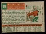 1959 Topps #316 xOPT Ralph Lumenti  Back Thumbnail