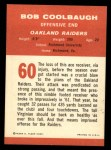 1963 Fleer #60  Bob Coolbaugh  Back Thumbnail