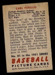 1951 Bowman #81  Carl Furillo  Back Thumbnail
