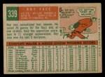 1959 Topps #339  Roy Face  Back Thumbnail