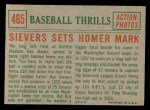 1959 Topps #465   -  Roy Sievers Sievers Sets Homer Mark Back Thumbnail
