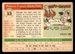 1955 Topps #33  Tom Qualters  Back Thumbnail