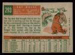 1959 Topps #293  Ray Moore  Back Thumbnail